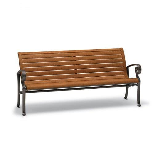 ashley outdoor bench with arms in horizontal slat pattern