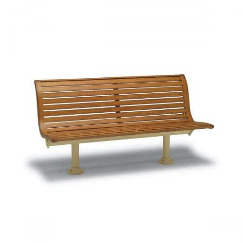 outdoor bench with back, without arms in faux wood