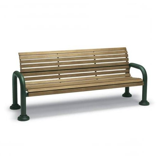6ft bench with back and arms outdoors in faux wood pattern