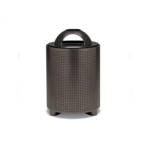 round, perforated pattern trash receptacle with ash dome