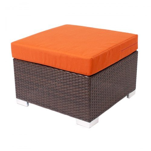 weave ottoman with canvas upholstery