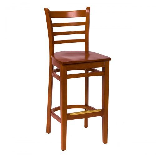 ladder back barstool with wood seat