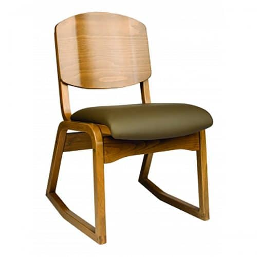 2-position chair with upholstered seat and wood back
