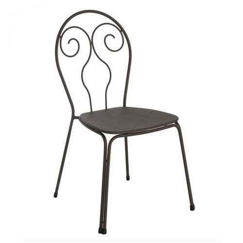 Steel with design pattern chair and wrought iron frame