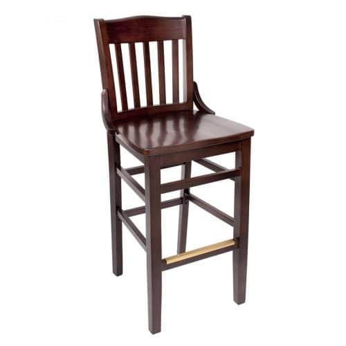 mahogany barstool with vertical back bars and decorative brackets