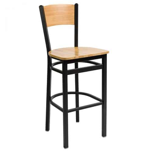 steel frame barstool with raised back and wood seat and back