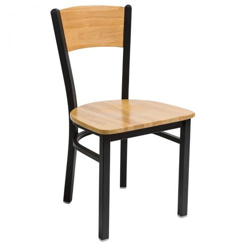 steel frame chair with wood seat and back