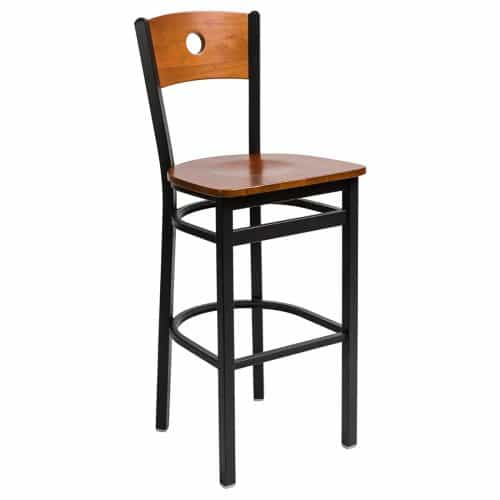 black steel barstool with circle wood back and wood seat