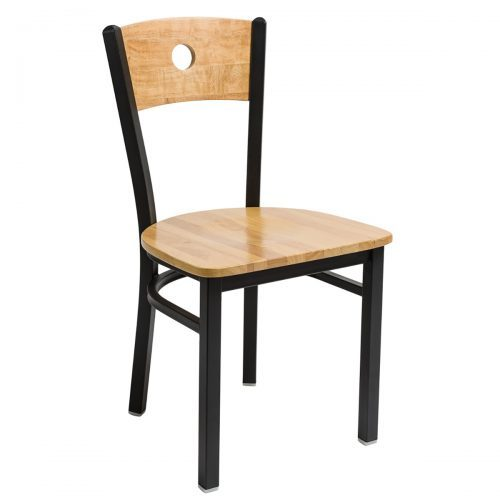 black steel chair with circle wood back and wood seat