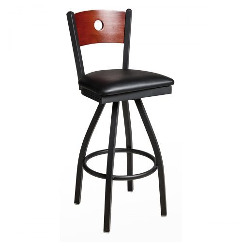 black steel swivel barstool with circle wood back and upholstered seat