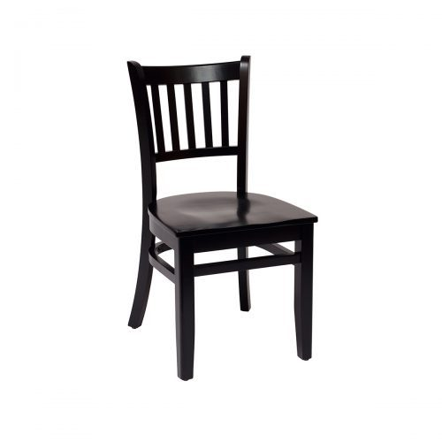 black wood slat back chair with wood seat