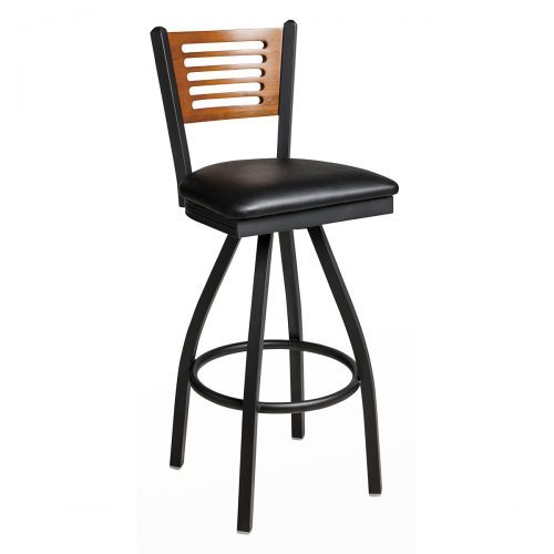 black steel frame swivel barstool with slotted wood back and upholstered seat