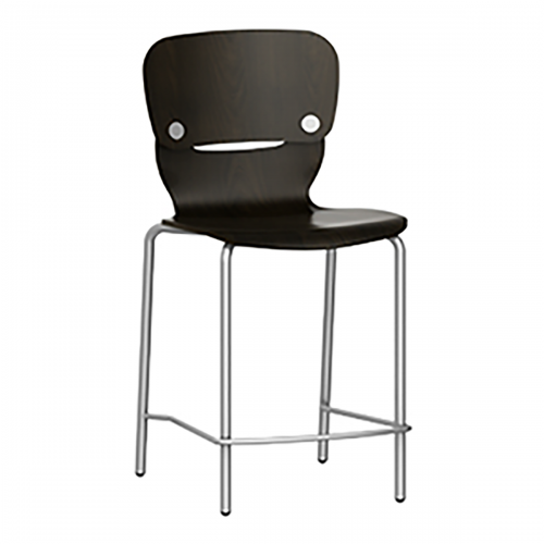 barstool with wood seat and back