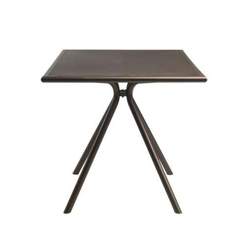 Perforated steel mesh table with steel legs