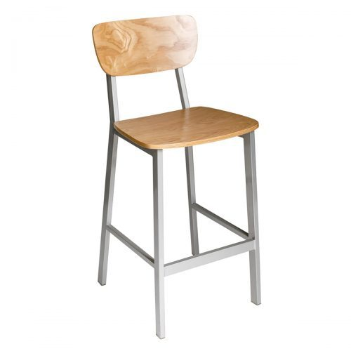 industrial barstool with wood seat and back