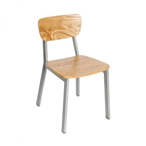 industrial chair with wood seat and back