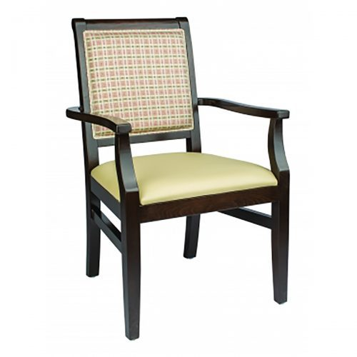 dark wood armchair with upholstery