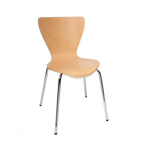 modern side chair with chrome frame and natural finish