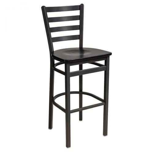 black steel frame barstool with ladder back and wood seat