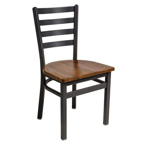 black steel frame chair with ladder back and wood seat