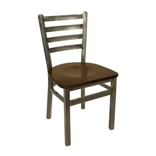 black steel chair with clear coat finish and wood seat