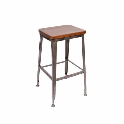 industrial barstool with wood seat and clear coat finish