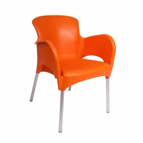 outdoor orange resin arm chair