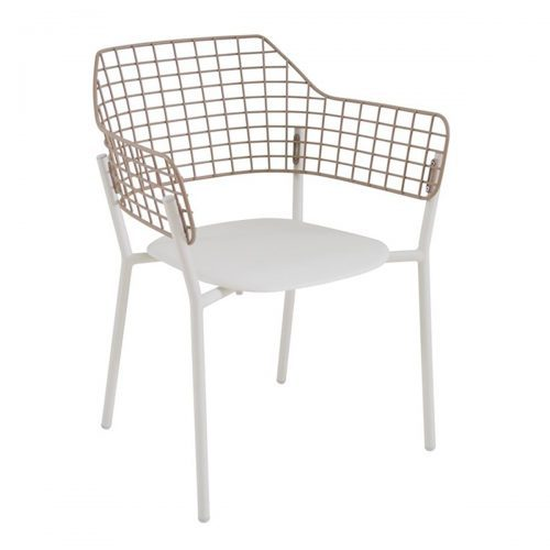 Lyze arm chair with aluminum seat and back