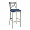 metal barstool with cross bars and upholstery