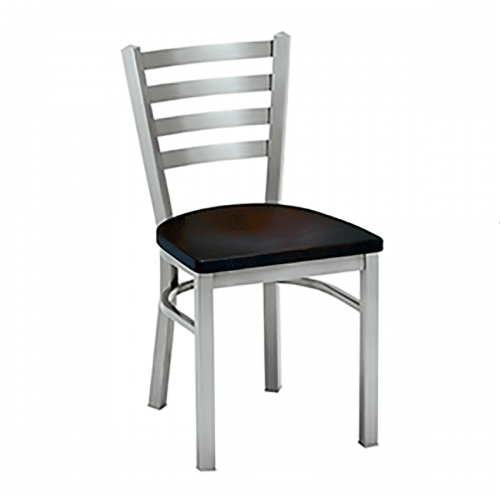 metal chair with horizontal back bars and wood seat