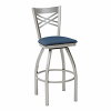 metal barstool with cross bars nd upholstery