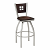 swivel barstool with wood back and wood seat