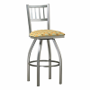 metal swivel barstool with upholstery and vertical bar back