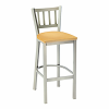 metal barstool with vertical bars and upholstery