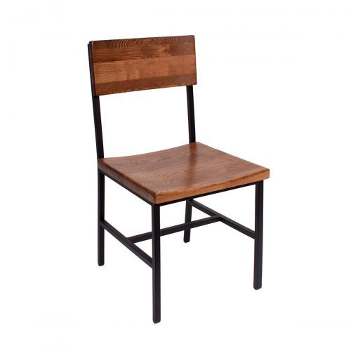 industrial wood chair with metal frame