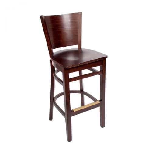 barstool with raised back and wood seat