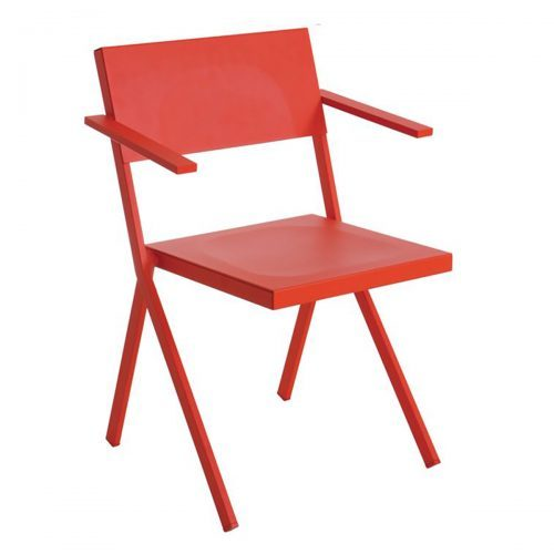 Mia steel frame with aluminum seat and back arm chair