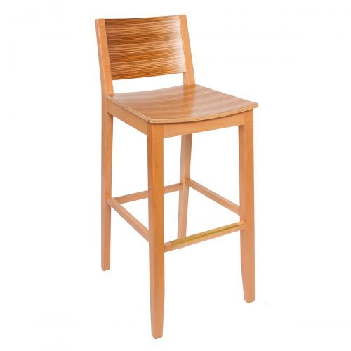 tigerwood barstool with raised back and wood seat