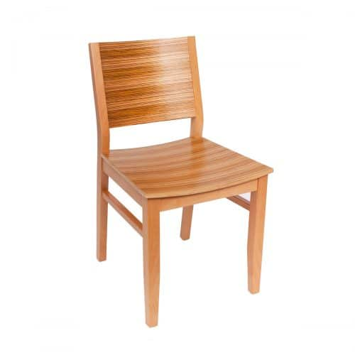 tigerwood chair with raised back and wood seat