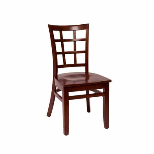 window pane side chair with wood seat