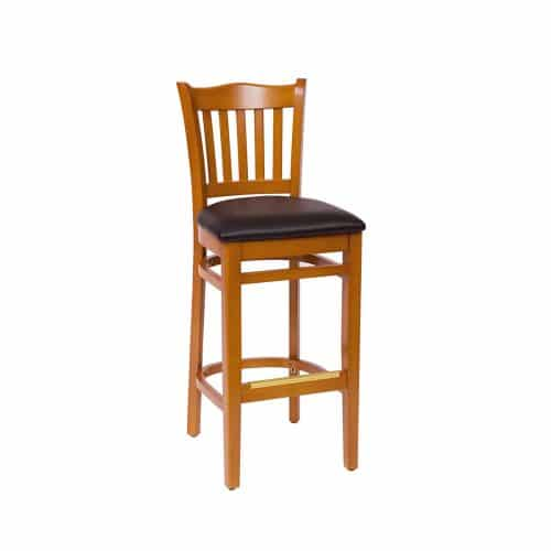 school barstool with vertical back bars and upholstered seat