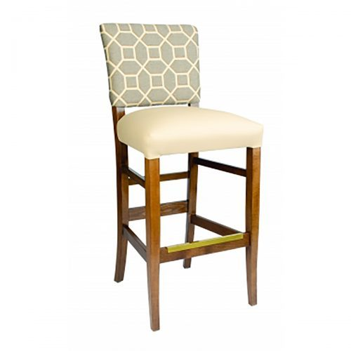 accent barstool with pattern upholstery back and beige seat