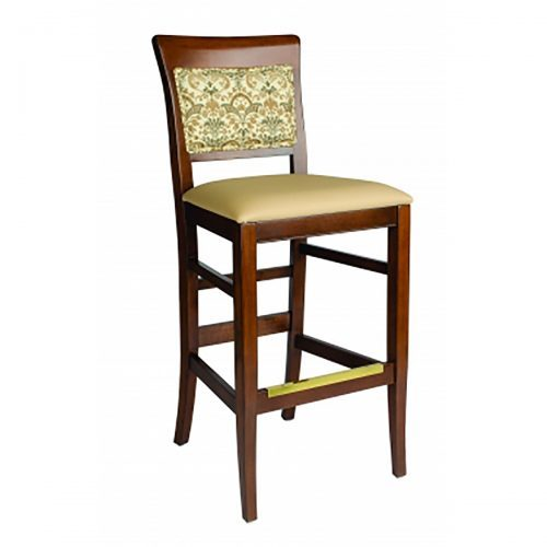 barstool with upholstery and fabric exposed through back frame