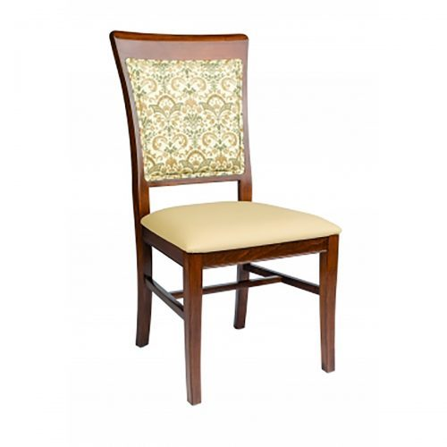 high back side chair with upholstery and exposed fabric through back frame