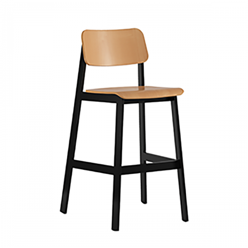 black frame barstool with light wood seat and back