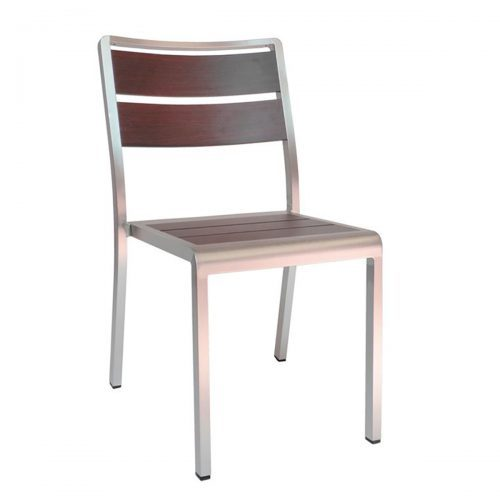 wood look aluminum side chair in wenge
