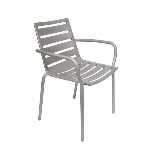 silver outdoor armchair with ladder seat and back