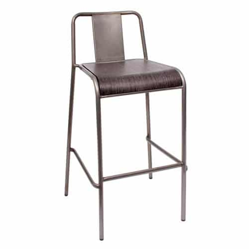 steel barstool with wood veneer and clear coat finish seat