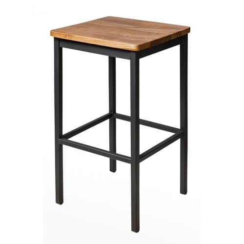metal barstool with wood seat