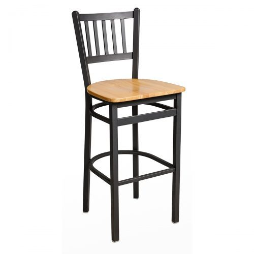black steel barstool with wood seat and slat back